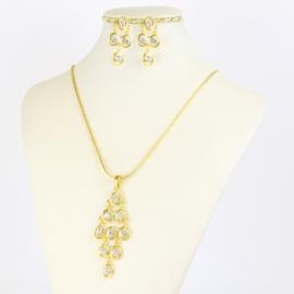 Komplet biżuterii z kryształkami - KOM381