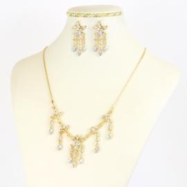 Komplet biżuterii z kryształkami - KOM382