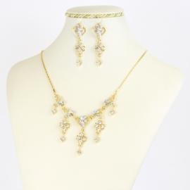 Komplet biżuterii z kryształkami - KOM383