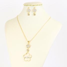 Komplet biżuterii z kryształkami - KOM385