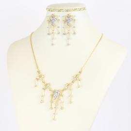 Komplet biżuterii z kryształkami - KOM386