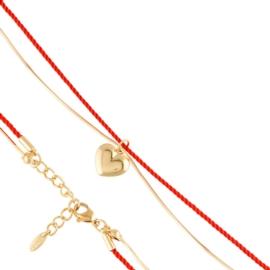 Bransoletka sznurek z serduszkiem Xuping P7835