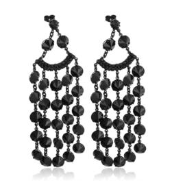 Kolczyki czeskie - czarne kryształy EA3727
