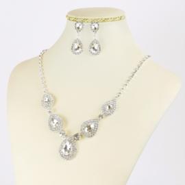 Komplet biżuterii z kryształami - KOM400