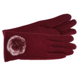 Rękawiczki damskie bordowe z puszkiem RK583