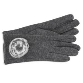 Rękawiczki damskie szare z puszkiem RK584