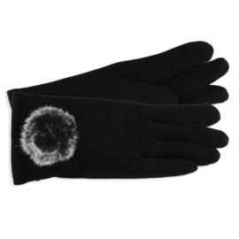 Rękawiczki damskie czarne z puszkiem RK585