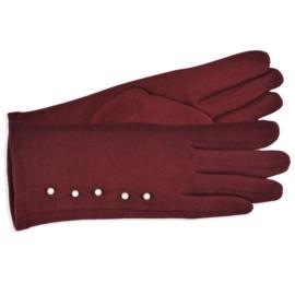Rękawiczki damskie bordowe z perełkami RK586