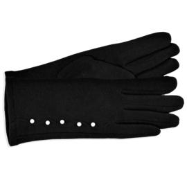 Rękawiczki damskie czarne z perełkami RK588