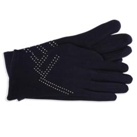 Rękawiczki damskie granatowe z dżetami RK589