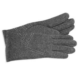 Rękawiczki damskie szare z dżetami RK590