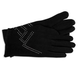 Rękawiczki damskie czarne z dżetami RK591