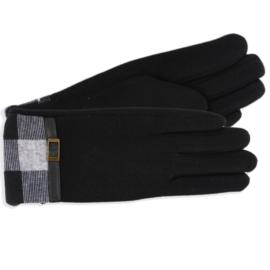 Rękawiczki damskie czarne z kratą RK594