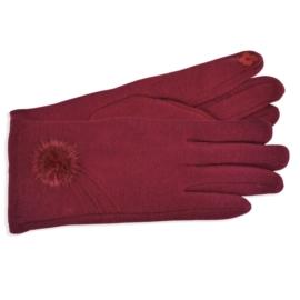 Rękawiczki damskie bordowe z puszkiem RK595