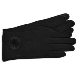 Rękawiczki damskie czarne z puszkiem RK598