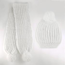 Komplet zimowy czapka szalik biały KZ15