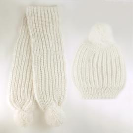 Komplet zimowy czapka szalik ecru KZ16