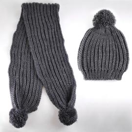 Komplet zimowy czapka szalik grafitowy KZ17