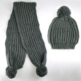 Komplet zimowy czapka szalik szary KZ18