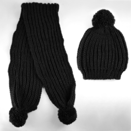 Komplet zimowy czapka szalik czarny KZ19