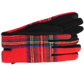 Rękawiczki damskie w kartę czerwone RK603