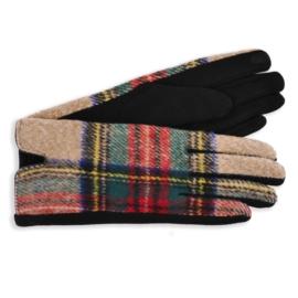 Rękawiczki damskie w kartę brązowe RK605