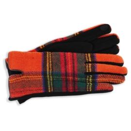 Rękawiczki damskie w kartę pomarańczowe RK606