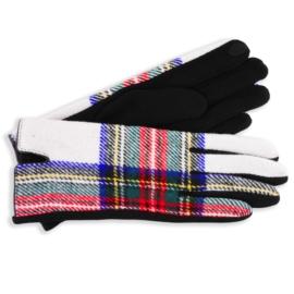 Rękawiczki damskie w kartę białe RK607