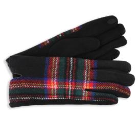 Rękawiczki damskie w kartę czarne RK608