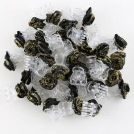 Żabki różyczki brokatowe czarne 40szt ZW93