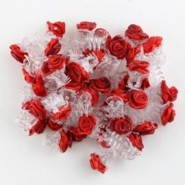 Żabki różyczki brokatowe czerwone 60szt ZW94