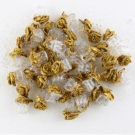Żabki różyczki brokatowe złote 60szt ZW96