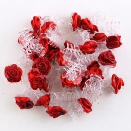 Żabki różyczki brokatowe czerwone 30szt ZW97