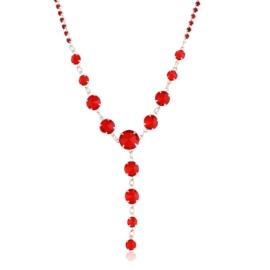 Naszyjnik czerwony czeskie kryształy NA2122