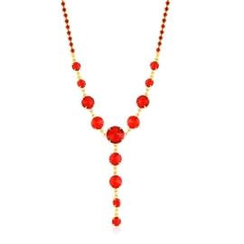 Naszyjnik czerwony czeskie kryształy NA2123