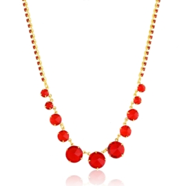 Naszyjnik czerwony czeskie kryształy NA2126