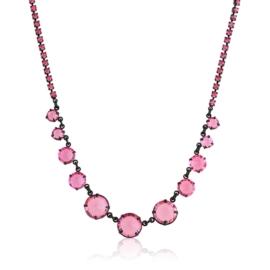 Naszyjnik różowy czeskie kryształy NA2128