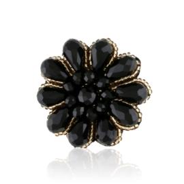 Broszka - czarny kwiatek - BR675
