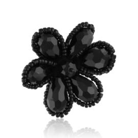 Broszka - czarny kwiatek - BR676