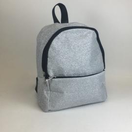 Plecak mały brokatowy - srebrny - PL386
