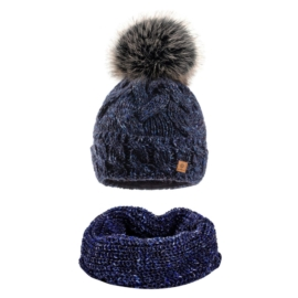 Komplet zimowy czapka komin wełna owcza KZ21