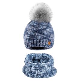Komplet zimowy czapka komin wełna owcza KZ23