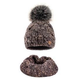 Komplet zimowy czapka komin wełna owcza KZ27