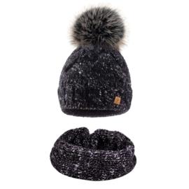Komplet zimowy czapka komin wełna owcza KZ28