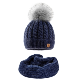 Komplet zimowy czapka komin wełna owcza KZ29