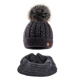 Komplet zimowy czapka komin wełna owcza KZ30