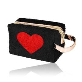 Kosmetyczka pluszowa z sercem - czarna - KOS133