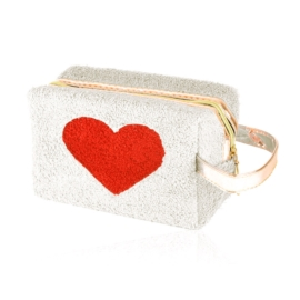 Kosmetyczka pluszowa z sercem - ecru - KOS134