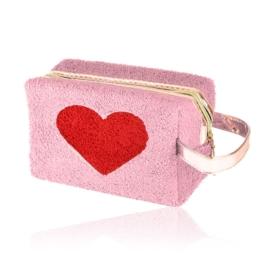 Kosmetyczka pluszowa z sercem - brudny róż KOS136