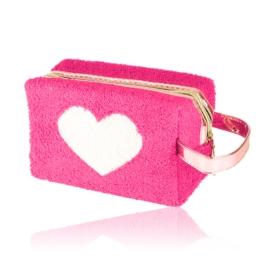 Kosmetyczka pluszowa z sercem - różowa - KOS137